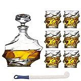 DBWIN Set de jarras de Whisky de Cristal de 7 Piezas para Hombres con 6 Excelentes Copas de cóctel para Ron, Whisky o borbón, aptas para lavavajillas