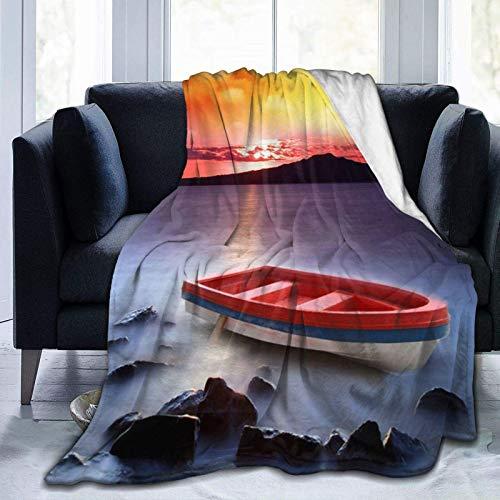 AEMAPE Barco de Pesca Rojo Impreso Manta de Tiro Manta cálida Manta Suave para sofá de Oficina en casa