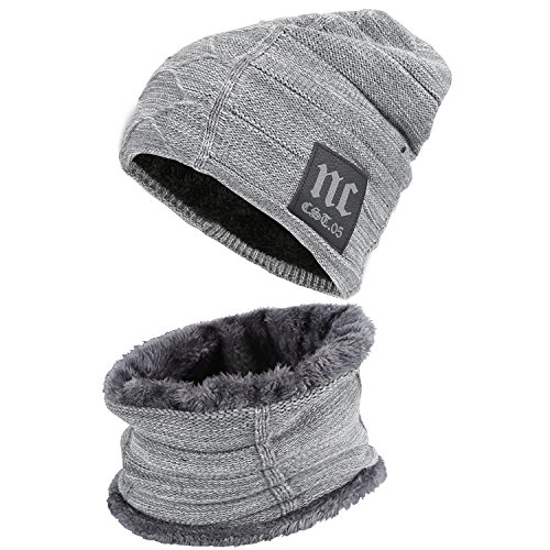 Fantastic Zone 2-Pieces Winter Beanie Hat Scarf Set Warm Knit Hat Thick Fleece Lined Winter Hat & Scarf For Men Women,Grey-2,One Size