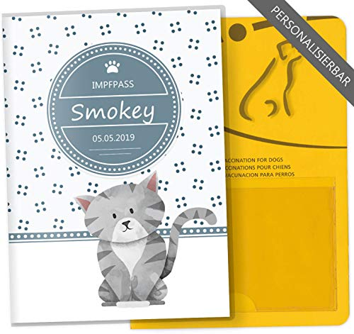 Impfpass Hülle für Tiere Lovely Kittens Tierausweis Schutzhülle schöne Geschenkidee personalisierbar mit Namen und Geburtsdatum (Smokey, Impfpasshülle personalisiert)