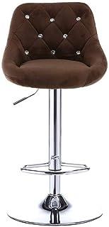 Las sillas giratorias para silla de escritorio escritorios, sillas de elevación taburete giratorio con respaldo regulable en altura Sillas de cocina, silla de terciopelo Silla de la barra,Marrón