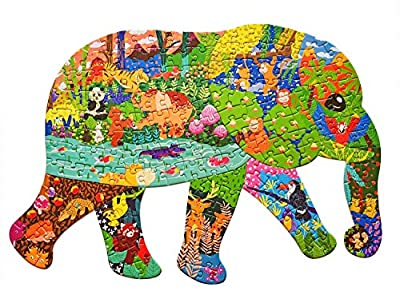 Puzzles for Kids Ages 4-8,8-10 and Adults, Elephant Animal Shaped Jigsaw Puzzles 200 Pieces for Wall Home Decor