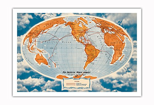 World Route Map - Pan American World Airways - The System of The Flying Clippers - Vintage Airline Travel Poster by Richard Edes Harrison c.1947 - Fine Art Print 30in x 44in