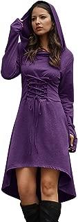 Jeanewpole1 Women Halloween Costumes Wizard Robe Hooded Long Sleeve High Low Lace Up Hoodie Dress
