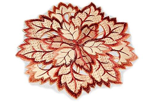 Tischdecken Espamira Blatt Blätter Terracotta Weinrot Gestickt Blätterdeckchen Herbst (Deckchen rund 20 cm)