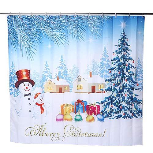 Fdit Weihnachtsbaum Bad Gardinen Weihnachten Schneemann wasserdicht Duschvorhang Happy Snowman & Weihnachtsbaum Frohe Weihnachten wasserdicht Polyester Duschvorhang MEHRWEG VERPAKUNG