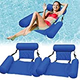 Water Floating Hammock Inflatable Swimming Pool Float Lounge Foldable Water Floating Chair Inflatable Rafts Lounger Bed for Adults and Kids (2pack-Blue)