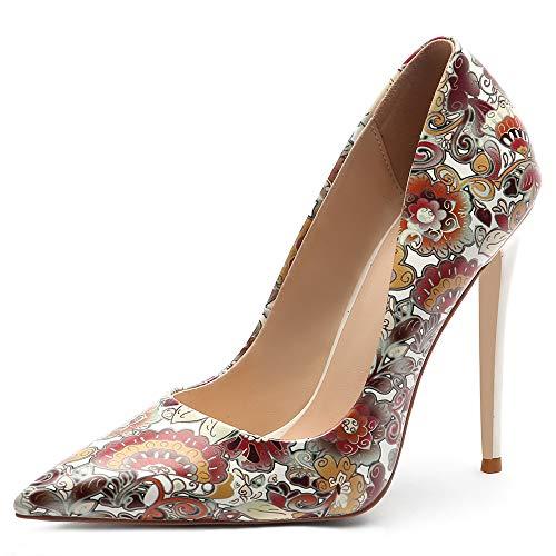 SI Diosa Damen Mode Stiletto Heels Schuhe Slip On Basic Pumps Spitze Heels Party Hochzeit Büro Schuhe Blumen Coffee-12CM Size 35