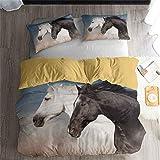Cheval Blanc Cheval Noir Animal Pentium série Literie - Housse de Couette et taie d'oreiller, Trois pièces literie (Housse de Couette + 2 taies d'oreiller) Haute qualité, Single, Double Bed