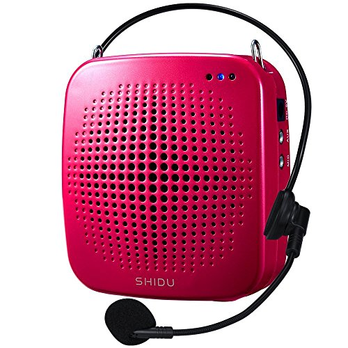 Zoweetek 15W Rechargeable Portable Voice Amplifier with Wired Microphone Headset and Waistband, Supports MP3 Format Audio Playing for Teachers, Tour Guide, Coaches, Training, Presentation (S511-Red)