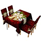 5pcs/Set Tablecloth & Chair Covers Christmas Decorations - Xmas Santa Claus Kitchen Dining Table Runner-Table Cover Set (Christmas Bell, Tablecloth 140140cm)