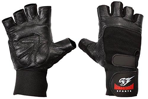 Fitness Handschuhe Echt Leder mit Handgelenkbandagen Wrist Wraps – perfekt für Sport Fitness Gym und Crossfit (XL, schwarz)