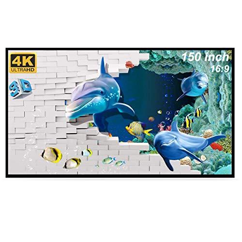 Beamer Leinwand, 150 Zoll Leinwand Beamer, GHKJOK Faltbarer & Tragbar 16: 9 HD 4K 3DBeamerLeinwand, Weißer Waschbarer Projector Screen für Bürotreffen Heimkino Indoor Outdoor Party