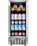 Beverage Cooler 15 Inch by Aobosi, 94 Cans Beverage Refrigerator Built-in or freestanding with Quiet...