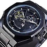 Excellent Reloj de Hombre Reloj mecánico automático para Hombres Reloj de Pulsera Casual con Manos Luminosas dial Redondo 3atm 30 Metros Resistente al Agua,C03