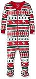 Hatley Footed Sleepsuit Pijama, Rojo (Winter Fair Isle 600), 9-12 Meses (Talla del Fabricante: 9M-12M) para Bebés
