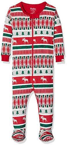Hatley Baby-Jungen Footed Sleepsuit Schlafstrampler, Rot (Winter Fair Isle 600), 3-6 Monate...