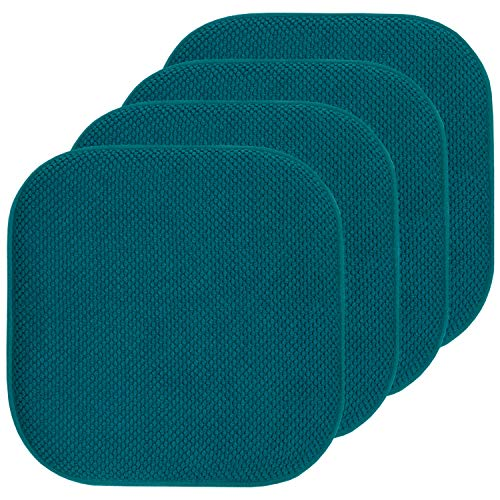 """Sweet Home Collection Chair Cushion Memory Foam Pads Honeycomb Pattern Slip Non Skid Rubber Back Rounded Square 16"""" x 16"""" Seat Cover, 4 Pack, Peacock Blue"""