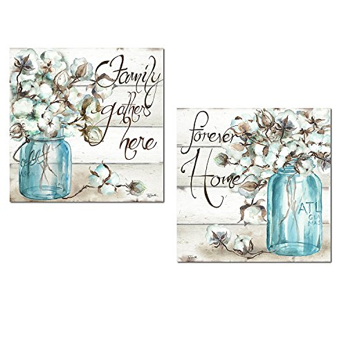 Beautiful Watercolor-Style Family Gathers Here and Forever Home Mason Jar Floral Set by Tre Sorelle Studios; Two 12x12in Unframed Paper Posters. Teal/Brown