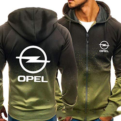YANDING Sudadera con Capucha Opel, Jersey de impresión 3D, Chaqueta con Bolsillo con Cremallera, Sudadera de Primavera y otoño para Hombre, Regalo C-Large