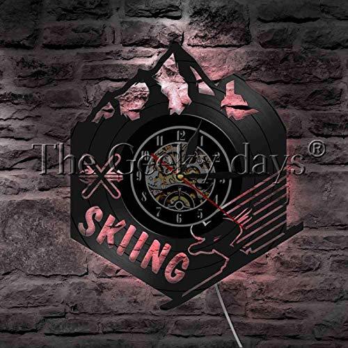 NIGU Reloj vintage Snowboard Invierno Deporte Extremo Vinilo Record Reloj de Pared Montaña Esquí Decoración del Hogar Reloj de Pared LED Lámpara Colgante Decoración Registros