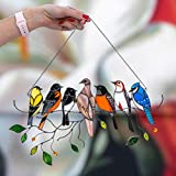 Settoo 10Set Stained Glass Window Hangings, 7 Birds in Stained Glass Window Panel,Art Bird Ornaments Hanging Suncacthers for Windows Doors Home Decoration