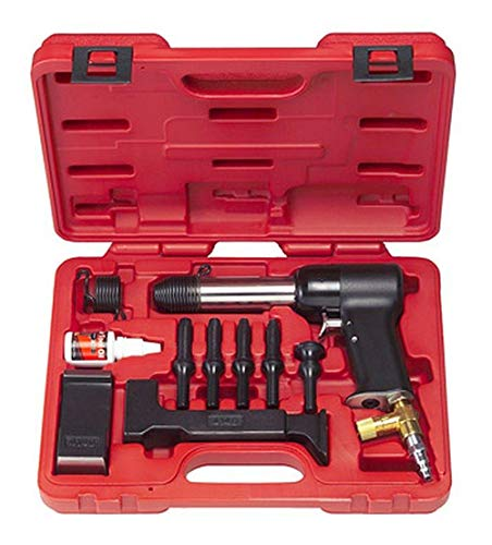 3X AIR Hammer KIT for Solid Rivets. Comes with 2 Bucking Bars, 4 Cupped Universal Head BITS (3/32, 1/8, 5/32 & 3/16), A 1' Flush DIE, and 2 RETAINING Springs.