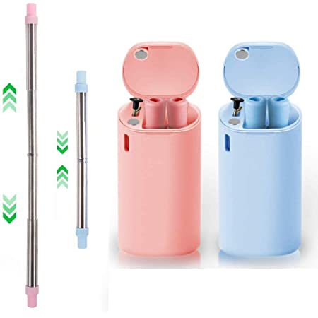 Reusable Folding Silicone Drinking Straw with Cleaning Brush Bar Drinkware