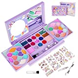 KIDCHEER Kids Makeup Kit for Girls Princess Real Washable Cosmetic Pretend Play Toys with Mirror - Non Toxic