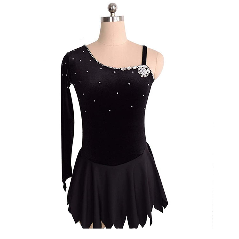カスタマイズされた子供の大人のフィギュアスケートドレスの女の子は服の競争の等級のスカートを示します,Black,AdultsSize:XXL