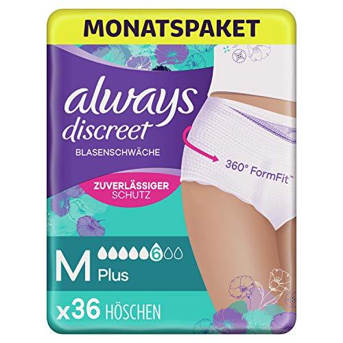 Always Discreet Inkontinenz Pants Gr. M (36 Höschen) Monatspaket, Plus, Diskreter Schutz und Hohe Saugstärke, Geruchsneutralisierend, 4 x 9 Stück