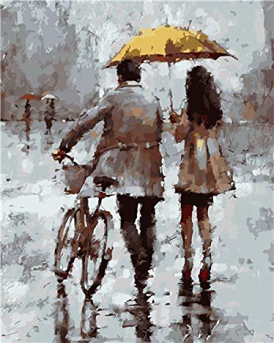 Pintar por Numeros para Adultos,Pareja de bicicletas bajo el paraguas DIY Pintura al óleo Kit Niños Pintura por Números con Pinceles y Pinturas Decoraciones para el Hogar,40X50 cm(Sin marco).