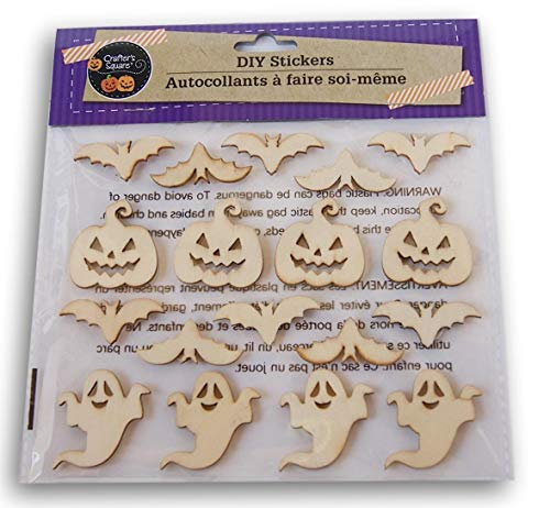 DIY Halloween Craft Wood Stickers - Spooky Jack-o'-Lantern, Bat, and Ghost Assortment - 18 Count