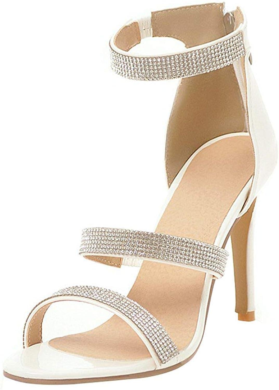 Lelehwhge Women's Dress Ankle Strap Rhinestone Open Toe Zipper Up Stiletto High Heels Sandals shoes Silver 8 M US