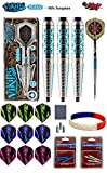 Shot! Darts Viking Drakkar 3 Steel Tip Dart Set Back Weighted 23 Gram 90% Tungsten Barrels Plus Steel Tip Accessory Kit & Bracelet