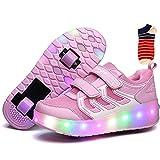 Linannau Zapatos con Ruedas Ruedas for niños Ruedas Dobles Ruedas retráctiles con Ruedas Se Pueden Cargar Zapatos con luz LED Zapatillas Deportivas al Aire Libre Unisex (Color : Pink, Size : 35EU)
