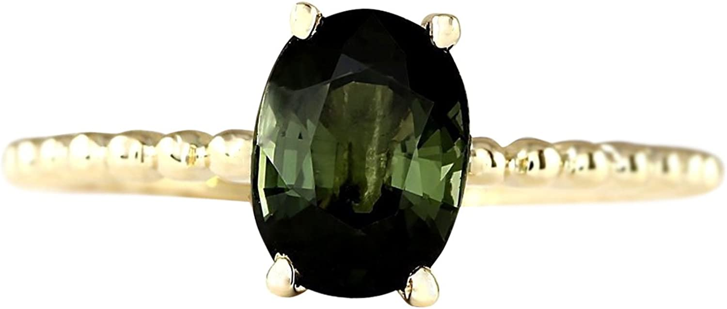 1.62 Carat Natural Green Tourmaline 14K Yellow gold Solitaire Promise Ring for Women