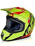 lazer Casque Motocross X7 Whip Jaune Fluorescent Noir Rouge