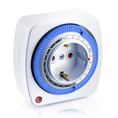 Arendo - 24h mechanische Zeitschaltuhr - 24 Hours Plug in Timer- 96 Schaltsegmente - Schieberegler für Zeitangabe - Status-Anzeige - Schaltknopf für Ein Auto-Funktion - kompakte einfache Bedienweise - 3680W - integrierter Berührungsschutz