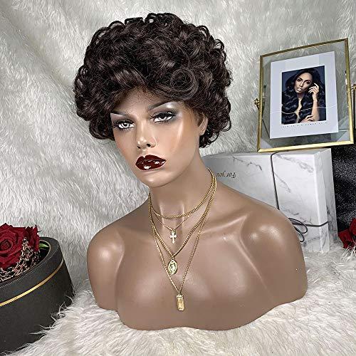 TOOCCI Parrucca Donna Capelli Umani Parrucche Capelli Veri Corta Ricci Pixie Cut Kinki Curly Wigs Human Hair Colore Marrone Veri Naturali Brasiliani 130% Density