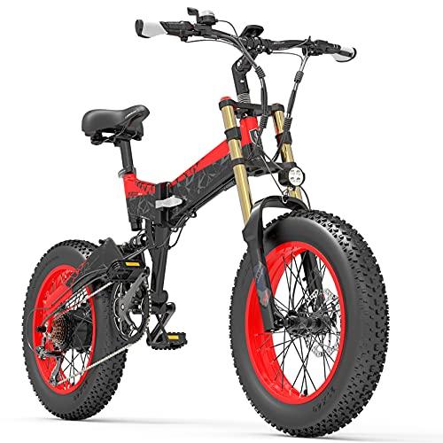 PHASFBJ Bicicleta eléctrica 500W 20 Pulgadas Bicicleta de montaña Plegable con batería,Shimano 7 Velocidades Bici de Montaña/Carretera/Playa/Nieve para Adultos,Black+Red