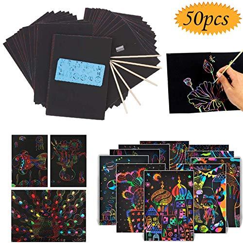Intéressant Outils d'enfants Jouets, Art Scratch, 50 Feuilles de Papier à gratter for Les Enfants Boards Peinture Rainbow Magic avec 5 Stylus en Bois et 4 règles à Dessin