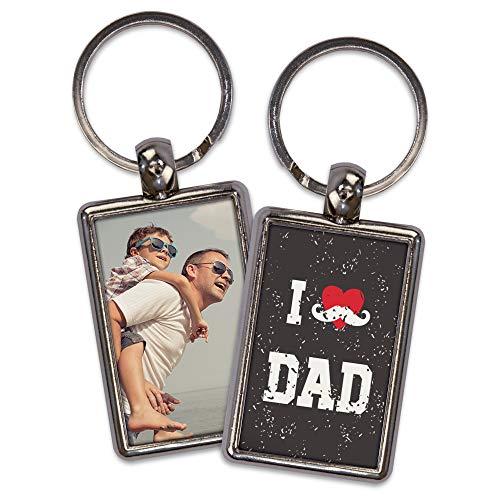 Llavero Personalizado. Regalos día del Padre. Llaveros Personalizados por Las 2 Caras. Forma Rectangular. Varios Modelos. Happy Dad