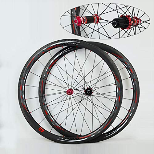 Vacuum Version 700C Road Bike Wheel Set Straight-Pull Front 20/Rear 24 Spokes 4 Bearing C-Brake V-Brake Aluminum Alloy 44/55mm Fat Rim Wheel Set Red Carbon Fiber Hub Drum(A Pair of Wheels)