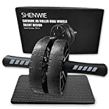 SHENWIE Ab Wheel Roller, Ab Roller for Abs Workout, Ab Roller Wheel with Knee Mat, Ultra-Quiet Ab Wheel Perfect Home Gym Equipment Ab Workout Equipment for Men Women Abdominal Exercise - Dual Wheels