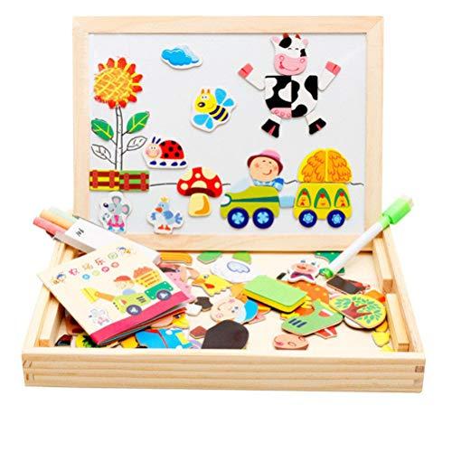 Schimer Puzzle de madera magnético de doble cara, tablero de dibujo magnético con lápices de colores y tiza, puzle magnético de madera con pizarra, juguete educativo de madera para aprender