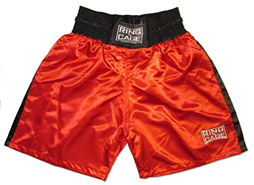 Traditional Boxing Trunks, Blue or Red Color. Kids and Adult Sizes (Medium (Kids 7 to 10 Years), Red)