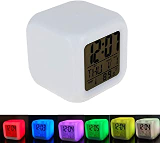 genmine Alarm Clock Glowing Clock 7 LED Color Change with Temperature, Alarm and Sleeping Function 7 Colors Changing Thermometer Night Glowing Digital Alarm for Bedroom Child