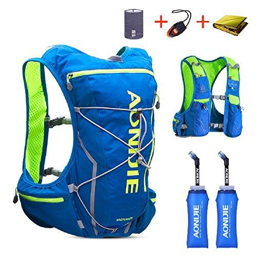 TRIWONDER Chaleco de Hidratación Ligero 10L Superior Mochila para Trail Running Ciclismo Marathoner al Aire Libre Hombre Mujer (Azul y Verde-con 2 Botellas de Agua Blandas (350ml), L/XL- 97-109cm)