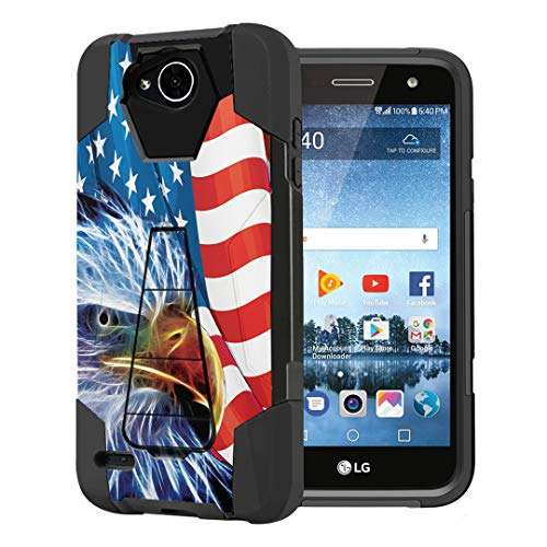 Capsule Case Compatible with LG Fiesta 2 (L163BL), LG X Power 2 (M320), LG X Charge (M322), Fiesta LTE, K10 Power, LS7 4G LTE [Dual Layer Combat Kickstand Case Black] - (American Eagle)